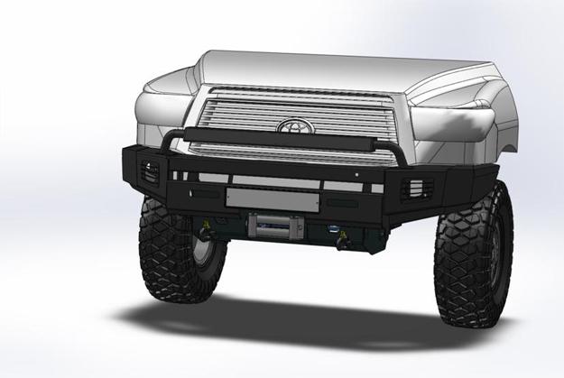 Бампер передний с местами под штатные противотуманные фонари III поколения Tundra