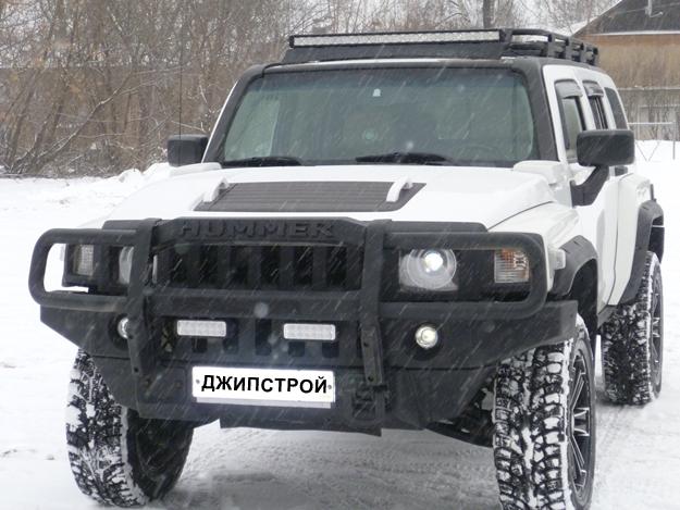 Передний силовой бампер на Hummer H3 c кенгурином