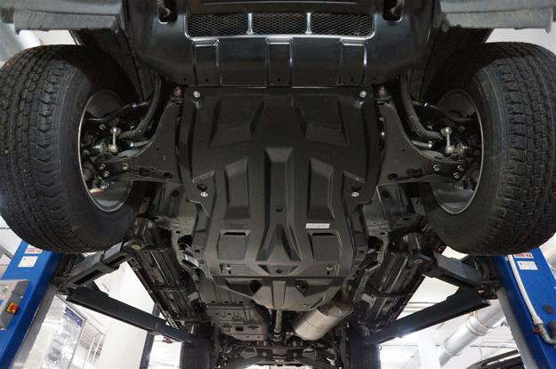 Защита картера двигателя и кпп + рк Mitsubishi Pajero (Митсубиши Паджеро) IV,V-3,0;3,2TD (06-) из 2-х частей/Montero III,V-3,8; (02-06)