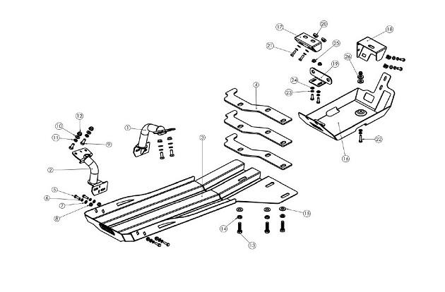 Защита днища ARB для автомобиля Jeep Wrangler JK с 2012 года, 3,6 л. бензин.