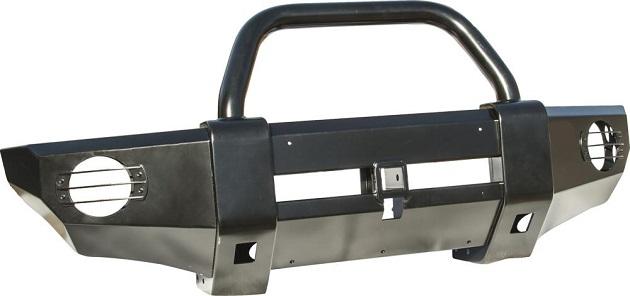 Накладка РИФ на передний бампер с квадратом под фаркоп и центральной трубой Mitsubishi L200 2005+