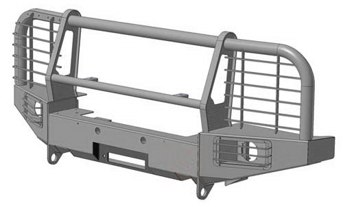 Передний силовой бампер с площадкой лебёдки на Land Rover Discovery.
