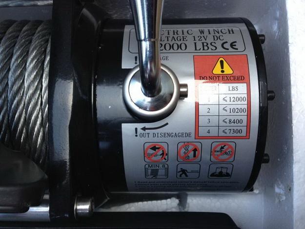 Лебедка электрическая 12V SUPER-Winch 4х4 12000lbs / 5443 кг влагозащита IP68 ЧЕРНАЯ, с дополнительным радиатором охлаждения