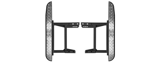 Силовые пороги на УАЗ Хантер, универсальные (под стандартный и лифтованный кузов).Крепление к раме, накладки из алюминия.