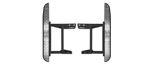 Силовые пороги на УАЗ Хантер с лифом кузова. Крепление к раме, накладки из алюминия.