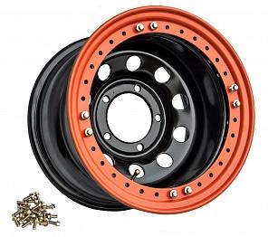 Диск УАЗ стальной черный 5x139,7 8xR15 d110 ET-24 с бедлоком (оранжевый)