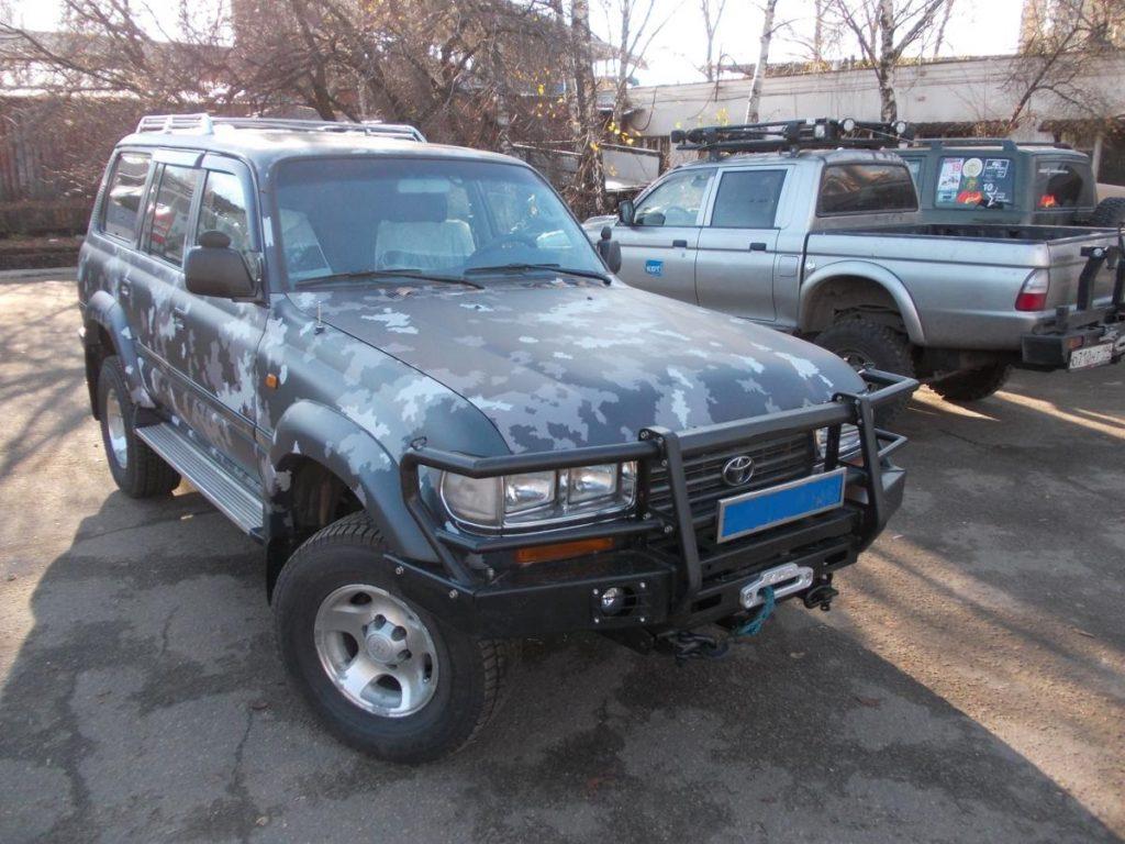 Передний силовой бампер с кенгурином алюминиевый - Toyota Land Cruiser 80