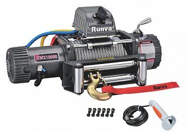 Лебёдка электрическая 12V Runva 12000 lbs 5443 кг (стальной трос)