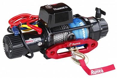 Лебёдка электрическая 12V Runva 9500 lbs 4350 кг влагозащищенная, синтетический трос