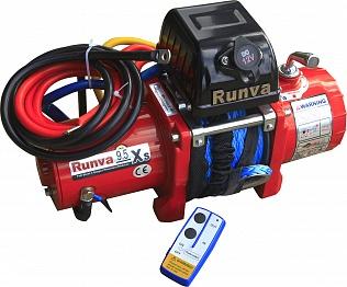 Лебёдка электрическая 12V Runva 9500 lbs 4350 кг короткий барабан (синтетический трос)