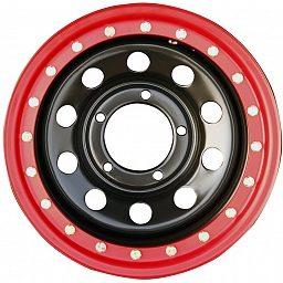 Диск УАЗ стальной черный 5x139,7 8xR15 d110 ET-19 с псевдо бедлоком (красный)