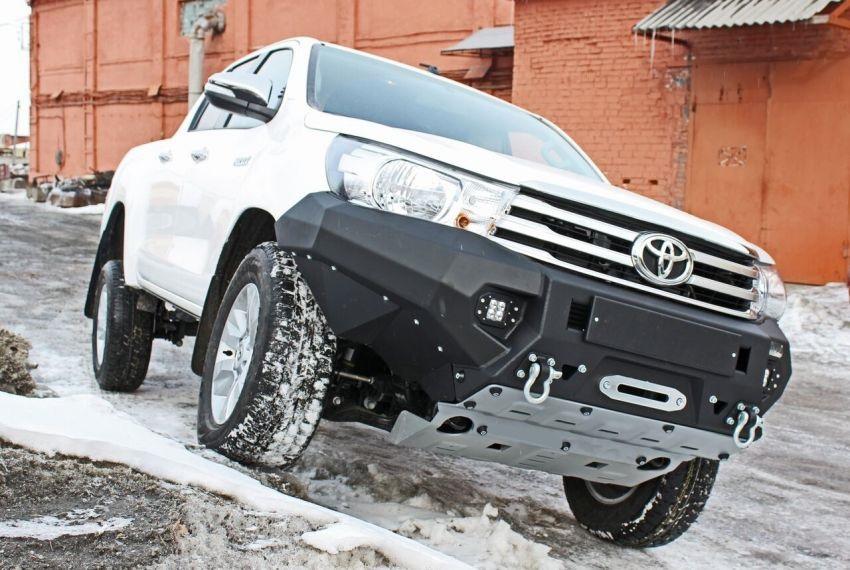 Бампер силовой передний алюминиевый для Toyota Hilux 2015-(цвет черный, с противотуманными фарами)