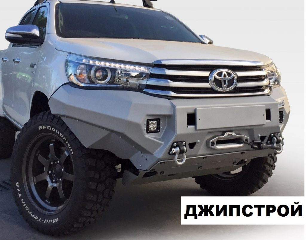 Бампер силовой передний алюминиевый для Toyota Hilux 2015-(цвет серебристый, с противотуманными фарами)