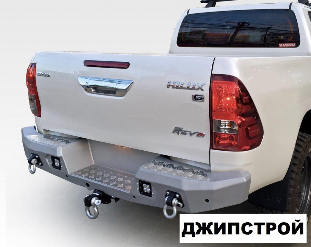 Бампер силовой задний алюминиевый для Toyota Hilux 2015-(цвет серебристый, с противотуманными фарами)