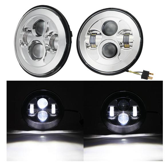 """Светодиодные фары (2 шт, комплект) головного света LOYO 0048A SILVER. 7"""" дюймов(inch), 178 мм, дальний-ближний, 45 Ватт для Нива, УАЗ, Jeep, Nissan, Defender"""