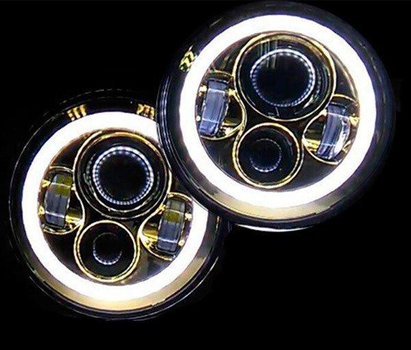 """Светодиодные тюнинг фары с ангельскими глазками ХРОМИРОВАННЫЕ (передние, комплект Л+П) головного света LOYO 0048A SILVER. 7"""" дюймов(inch), 178 мм, дальний-ближний, 45 Ватт для Нива, УАЗ, Jeep, Nissan, Defender"""