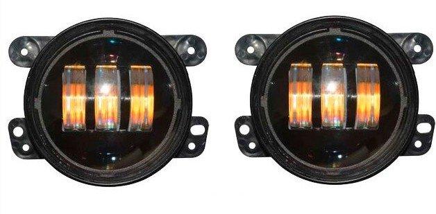 Cветодиодные LED ТЮНИНГ противотуманные фары (комплект, 2 шт.) в бампер Jeep Wrangler/Rubicon, универсальные светодиодные птф в силовой бампер